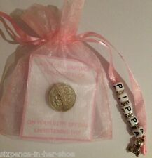 PERSONALISED LUCKY SIXPENCE - CHRISTENING DAY GIFT - BABY GIRL