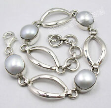 "925 Sterling Silver Amazing FRESH WATER PEARL PRETTY Bracelet 7.7"" NEW"