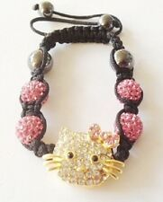 CHILDS LIGHT PINK HELLO KITTY SHAMBALLA BRACELET-4 CLAY DISCO BEAD-CZECH CRYSTAL