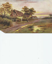 Pastoral Scene Thatched Cottage 1907 Postmark Boston MA     Postcard 41613
