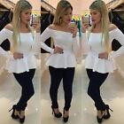 femme épaule découverte BARDOT Péplum Haut manches longues T-shirt Slim Fit