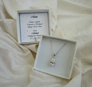 Gift for Mother of the Groom jewellery  sterling silver  CZ personalized box
