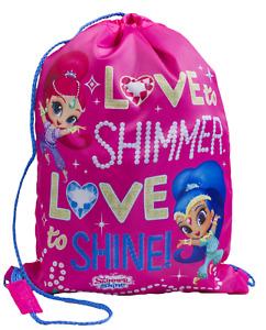 Girls Shimmer And Shine Swimming Pump Bag School Sports PE Drawstring Lunch Bag