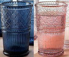 Large Highball Glasses Set 13.5 oz Blue Pink Glass Everyday Drinkware 12 pc set