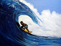 Surfing 2, Surfer, Original Acrylic Painting, Ocean, Beach, Nautical, Signed