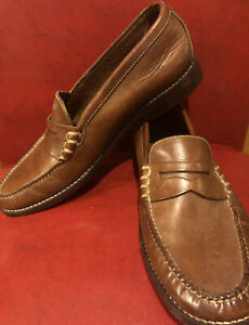 Cole Haan Womens Driving Penny Loafers Shoes Brown Stitched Leather Sz 9 B (71)