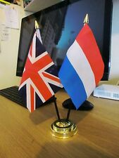 UNION JACK AND LUXEMBOURG TABLE FLAG SET 2 flags plus GOLDEN BASE