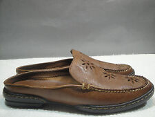 WOMENS 7 M EASTLAND BROWN LEATHER MOCCASIN FLOWER MULE SLIDE FLATS SHOES