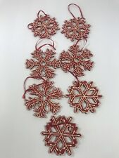 SET OF 7 Wood SNOWFLAKE Ornaments Red White Christmas Holiday Tree Decoration