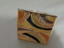 Black Enamel Square Top Sie 6 Vintage Fashion Ring With Beige And