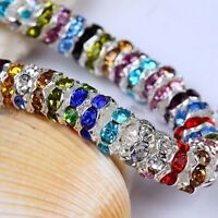 100 Silver Plated Czech Crystal Spacer Rondelle Beads Charm Findings Craft 6mm