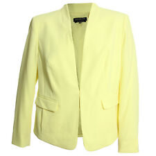 Jones New York 14w Pale Yellow Long Sleeve Collarless Blazer Jacket Coat NWT F/S