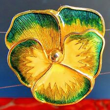 Pansy gold plated green yellow enamel grear condition brooch   rt