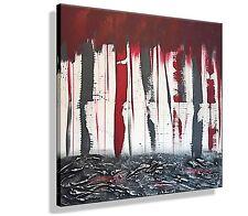 Leinwand Bild HANDGEMALT Wandbild Kunst Abstrakt modern XXL Bilder Unikat Rot