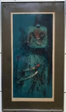 EVOCATIVE MODERNIST SILKSCREEN IMAGE OF MEN ON CANAL BOATS SIGNED