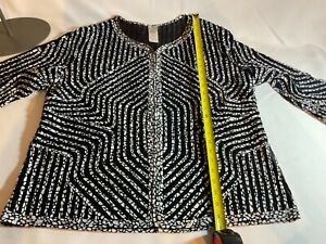 Travelers Collection by Chicos Black & White Open Cover Jacket Top Sz 3 EUC