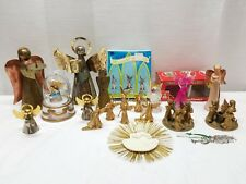 Vintage Christmas Decoration Angel Figurines Glass Plastic Brass Candle Holders
