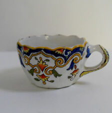 BEAUTIFUL ROUEN FAIENCE ARMORIAL FRENCH CUP, 1850~ 1890