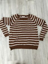 Forever 21 Tan Brown White Stripe Sweater Jumper Size Medium M Blogger