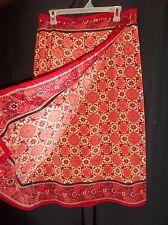 SAG HARBOR Women's WRAP Look Pencil Skirt CORAL Floral BANDANA Print Size 16W