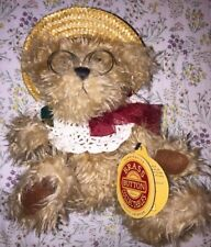 "Brass Button Teddy Bear 10"" Jointed Shaggy Plush ROSIE w/ Glasses & Straw Hat"
