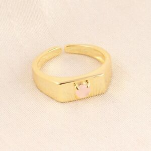 Superb Natural Pink Chalcedony Yellow Gold Plated Round Shape Adjustable Ring