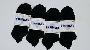 Lot 4 Black Bombas No Show Size Large