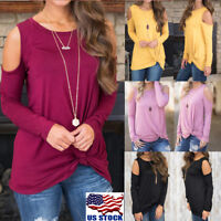 Women's Long Sleeve Cut Out Cold Shoulder Top Slim Bodycon Casual T Shirt Blouse
