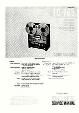 SONY TC-765 TAPE DECK COMPLETE SERVICE MANUAL WITH SUPPLEMENT 86 Pages