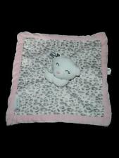 Carters White Bear Gray Leopard Print Lovey Blankie Plush Toy Pink Trim