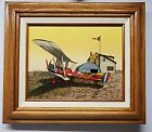 """H. Hargrove Red Airplane Serigraph Oil Painting Signed W/ Certificate 8"""" x 10"""""""