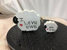 Adorable Set of 2 Hand Carved Hand Painted Sheep & Baby I Love Ewe Me Too pre-ow