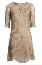 "Hobbs Invitation ""Aphrodite"" Beige Nude oyster Hand Beaded Dress Gatsby UK 16"