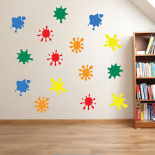 Paint Blobs Splats Stickers Nursery School Child Kids Wall Window Colourful A26 Red Large