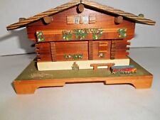 Vintage Swiss Music Box Jewelry Wood Cottage / Cabin Rapsodie Sue'doise
