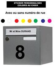 Sticker Nom boîte aux lettres , numéro de maison Autocollant Coloris au choix