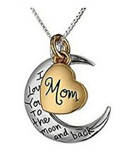 I LOVE YOU TO THE MOON BACK Silver Moon Gold Heart Mom Mum Necklace Pendant Gift
