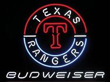 "New Budweiser Bud Light Texas Rangers MLB Logo Neon Sign 24""x20"""