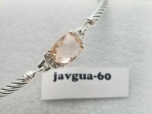 David Yurman Petite Wheaton Morganite & Diamonds Bracelet size medium