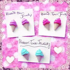 Kawaii Pastel Ice Cream Cone Stud Earrings