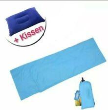 Schlafsack mit Luftkissen 215x65cm Hüttenschlafsack Mini und Leicht 300g Blau