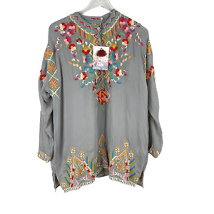 Johnny Was Jessa Embroidered Floral V Neck Gray Tunic Size Small Boho
