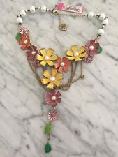 Authentic Betsey Johnson Spring Garden flowers faux pearls Necklace NWT $150