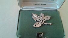 Vintage NIB ANSON Sterling Silver FAMILY ALBUM LEAF Pin Brooch Custom with Stone