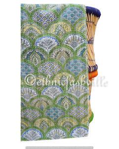 Traditional Indian Handmade Cotton Twin Kantha Quilt Throw Bedspread Blanket Art