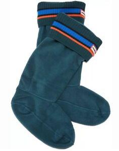 Hunter Boot Socks Tall Size M Stripe Cuff Fleece teal Ocean Azure Scallop OAS