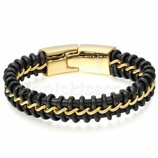 Mens Gold Tone Stainless Steel Curb Chain Interweave Black Leather Bracelet Cuff