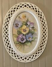 Vintage Oval Lattice Frame With Pansies Signed Country Cottage