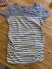 Sz XS Liz Lange Maternity short-sleeved gray and pale yellow striped tee