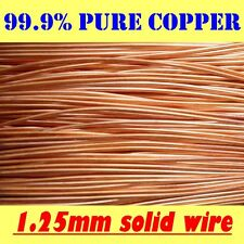 10 METRES SOLID BRIGHT UNCOATED BARE COPPER WIRE, 1.25mm = 18G SWG = 16G AWG